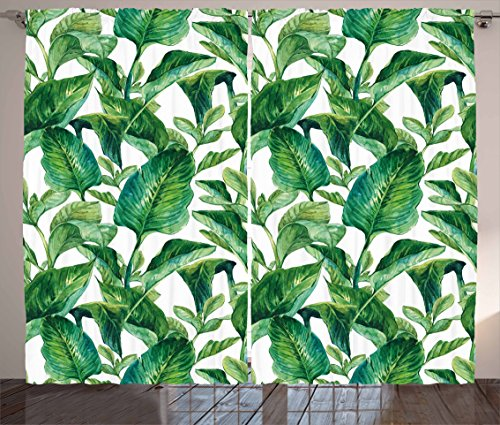 "Ambesonne Leaf Curtains, Romantic Holiday Island Hawaiian Banana Trees Watercolored Image, Living Room Bedroom Window Drapes 2 Panel Set, 108"" X 90"", Forest Green"