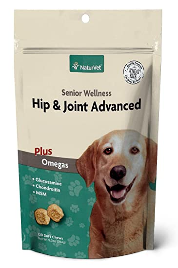 NaturVet – Senior Wellness Hip & Joint Advanced Plus Omegas – Help Support  Your Pet's Healthy Hip & Joint Function – Supports Joints, Cartilage