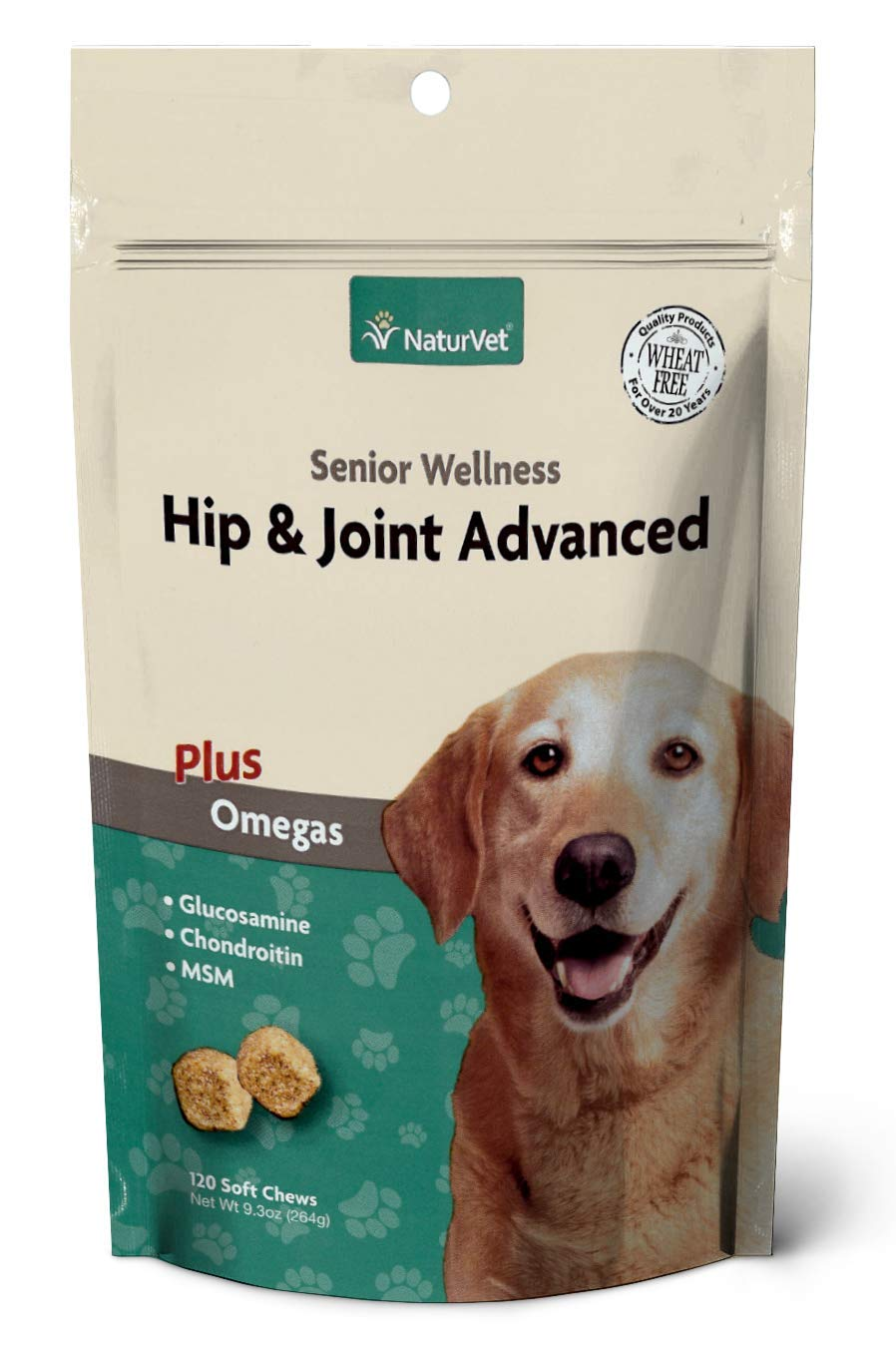 NaturVet – Senior Wellness Hip & Joint Advanced Plus Omegas – Help Support Your Pet's Healthy Hip & Joint Function – Supports Joints, Cartilage & Connective Tissues – 120 Soft Chews