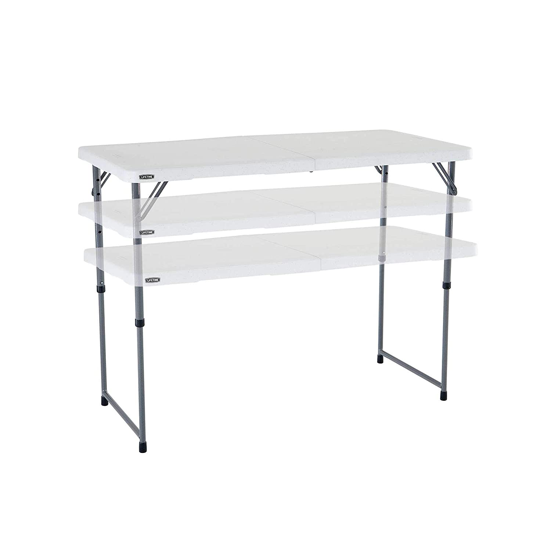 Lifetime - Mesa Plegable Multifuncional con Altura Ajustable, 122x61x 60/74/90 cm, Blanco, LFT 122 Folding