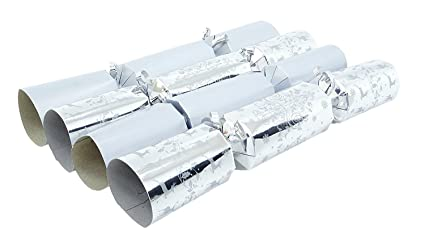 Christmas Crackers Contents.10 Deluxe Silver And White Christmas Crackers