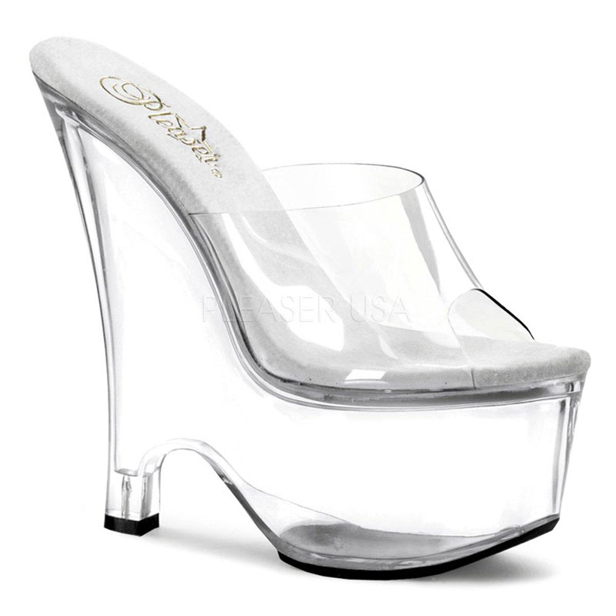 Pleaser Beau-601 Women's Wedge Heel Slip on 6.1/2 Hot Sexy Sandal. B06VX4V6FH 5 B(M) US Clear/Clear