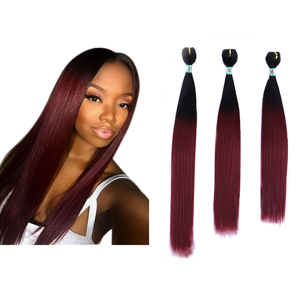 Chic Yonis Silk Straight Ombre Hair Extensions 3 Bundles Synthetic