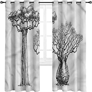 Short Curtains, Forest Grommet Drapes for Kitchen Cafe Decor, Baobab Tree Leafless Branch Set of 2 Panels, 108 Width x 72 Length