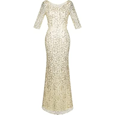 nikifly Abendkleid Ivory Vestidos de Noche Half Sleeves Sequined Mermaid Long Evening Dress,All Sequin