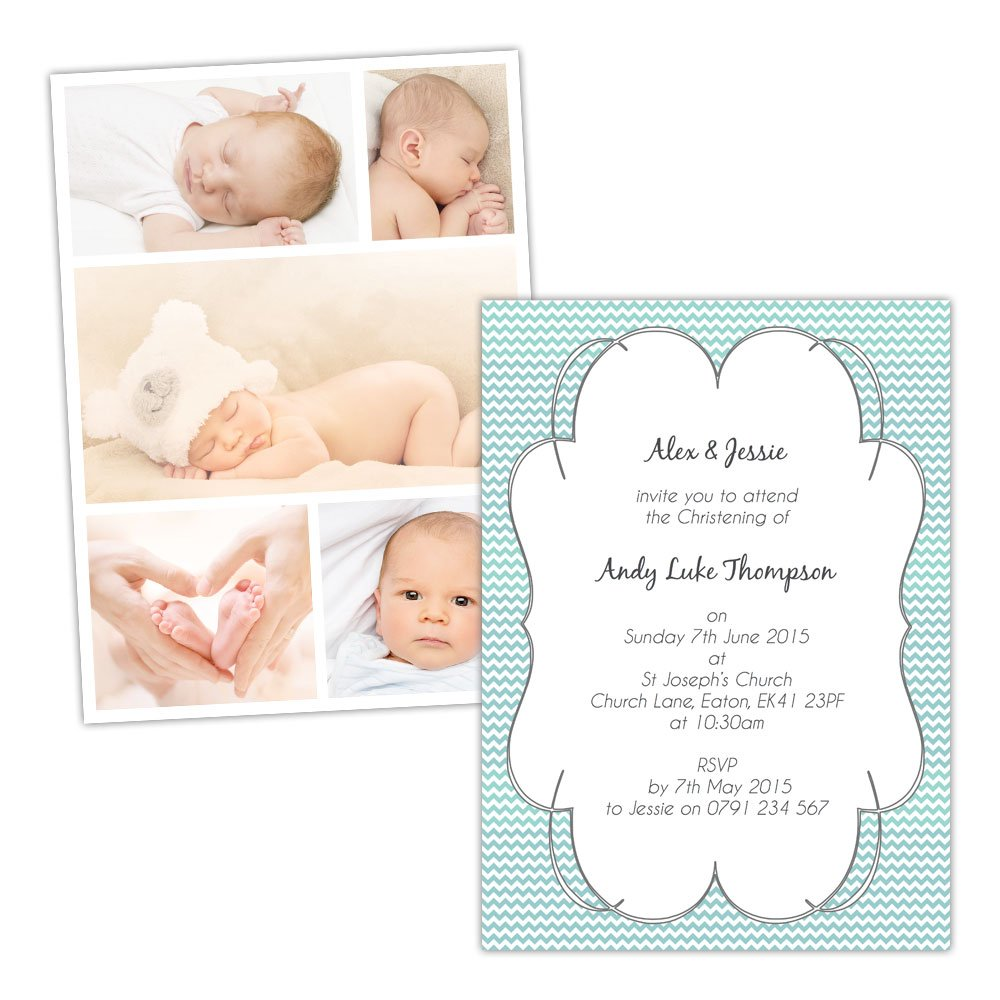 A6 folded Pearl or Textured card Made by Mika Mika Mika Personalised Christening invitations CHEVRON FRAME SWIRLY BORDER PHOTOS FREE DRAFT & FREE ENVELOPES (200, A6 folded Pearl or Textured card) 6399bc
