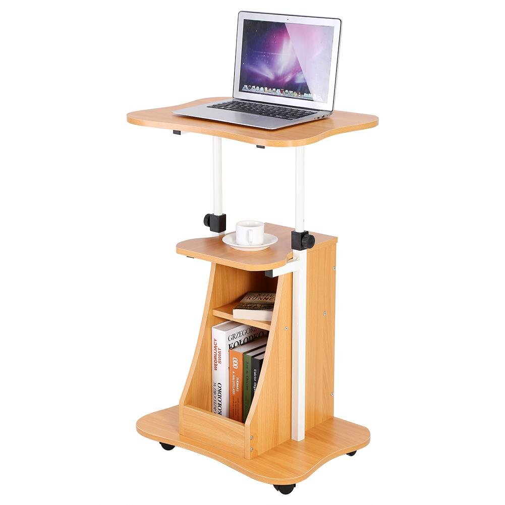 Tavolino Portatile con Rotelle per Notebook/Laptop, ufficio computer Scaffale Ripiani Mobile workstation, Altezza regolabile (Colore del legno) GOTOTOP