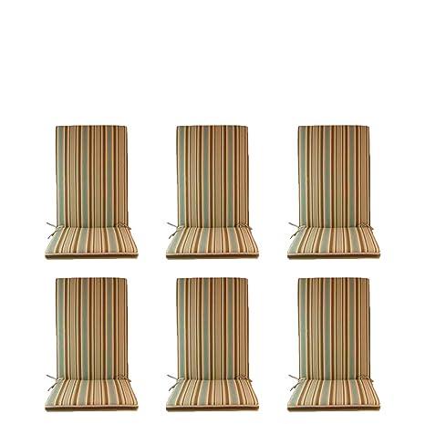 Edenjardi Pack 6 Cojines de Exterior para sillones reclinables Color Lux Estampado a Rayas | Tamaño 114x48x5 cm | Repelente al Agua | Desenfundable | ...