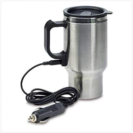 VDNSI 12V Car Charging Electric Kettle Stainless Steel Travel Coffee Mug Cup Heated Thermos 450ml