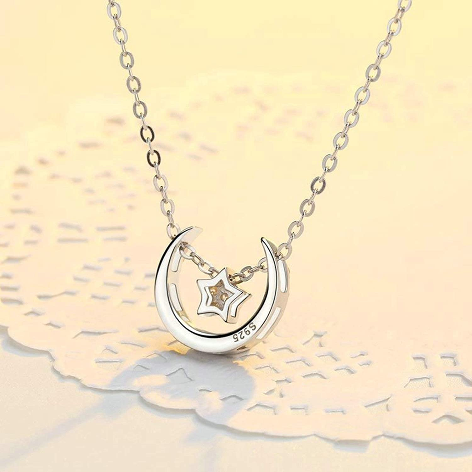 KnSam Women Pendant Necklace 925 Sterling Silver Cz Star and Moon Silver
