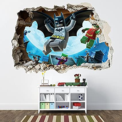 . LEGO BATMAN SMASHED WALL STICKER   BEDROOM BOYS GIRLS VINYL WALL ART