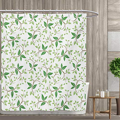 smallfly Leaf Shower Curtain Collection by Ivy Patterns with Tiny Fancy Green Leaves Branches Creme Contemporary Illustration Patterned Shower Curtain 66