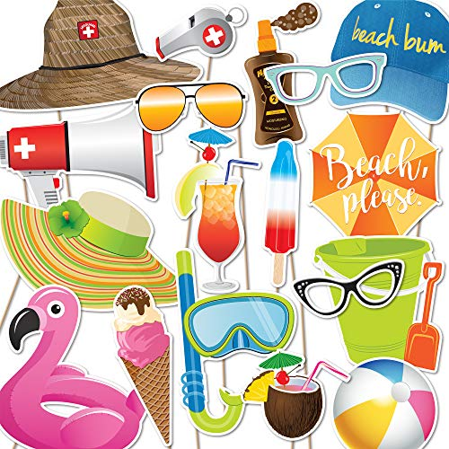 Beach Party Photo Booth Props by Paper and Cake - 18 piece set]()