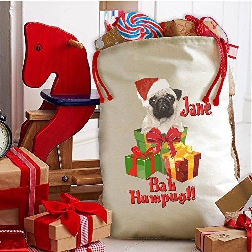 (Personalised Baa Humpug Cute Pug Christmas Sack Stocking Xmas Present Bag Santa Mail Post by Krafty Gifts)