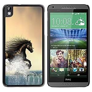Be Good Phone Accessory // Dura Cáscara cubierta Protectora Caso Carcasa Funda de Protección para HTC DESIRE 816 // Horse Wild Free Brown Running Water