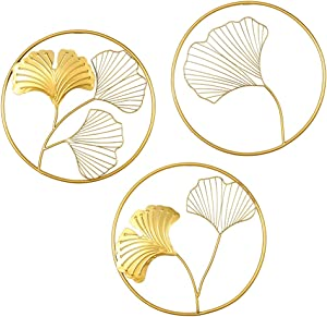 MKUN Iron Wall Sculptures - Set of 3 Metal Round Wall Decor with Gingko Biloba Art Great for Home Hotel Decoration (Gold)