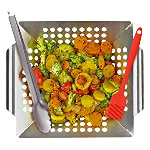 KALREDE Grill Basket BBQ Stainless Steel Grilling Basket with Handle for Vegetable/Veggie - Heavy Duty Food Tongs and BBQ Silicone Basting Brush - 3 Pieces Grill Accessories Tools