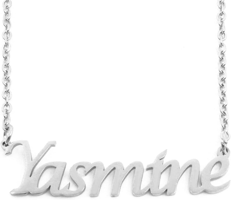 """Argent Sterling .925 Jasmine de plaque Nom charme collier pendentif gratuit 17/"""" Chaîne"""