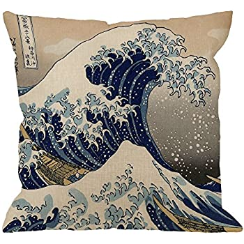 HGOD DESIGNS Wave Pillow Case, Japanese Hokusai The Great Wave of Kanagawa Cotton Linen Cushion Cover Square Standard Home Decorative Throw Pillow for Men/Women 18x18 inch Brown White ...