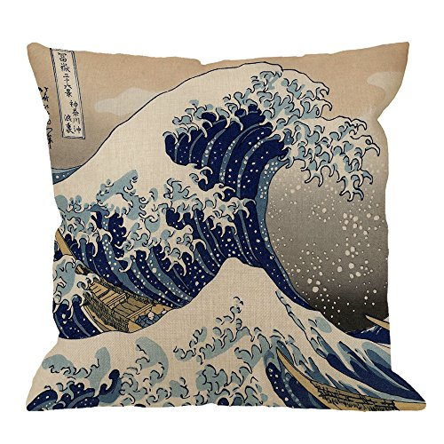 HGOD DESIGNS Wave Pillow Case, Japanese Hokusai The