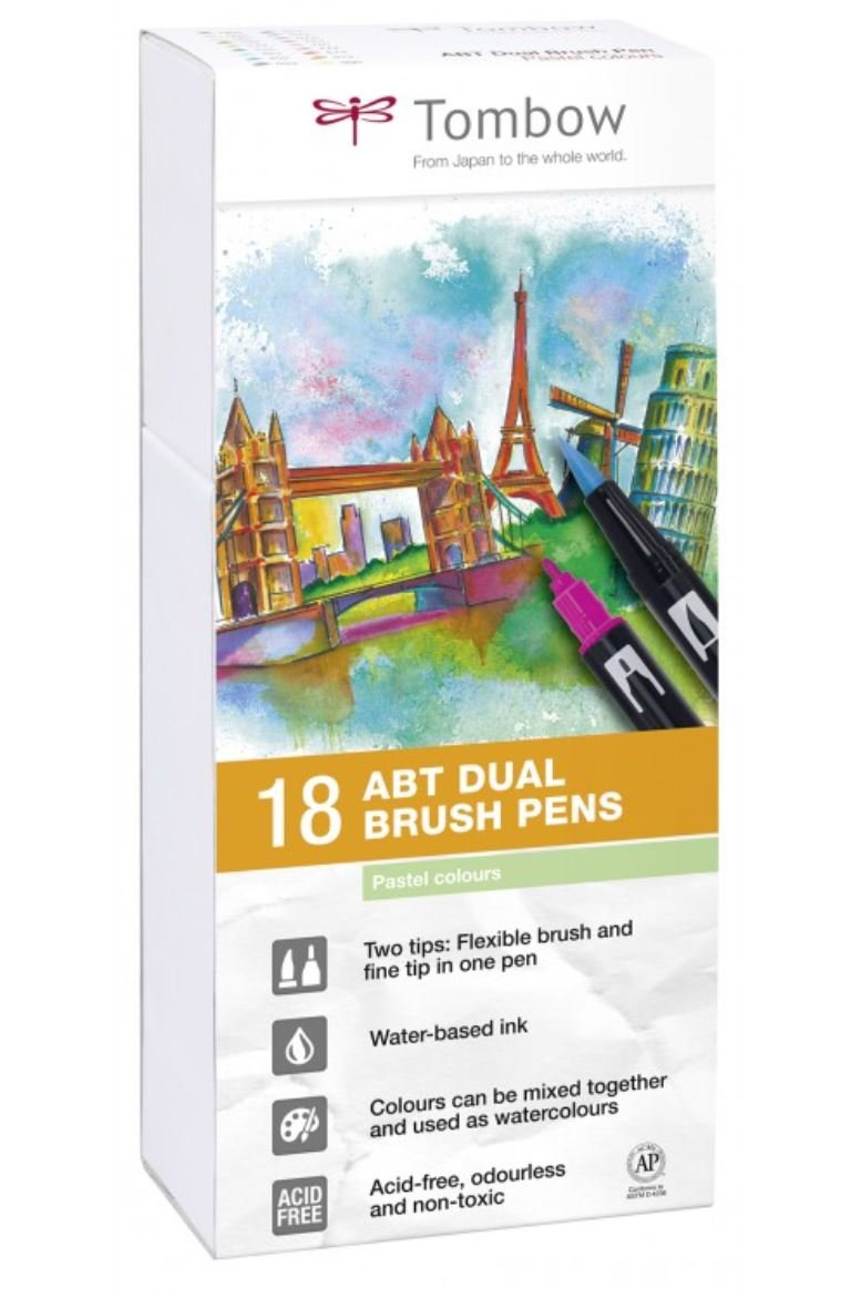 Tombow ABT Dual Brush Pen - Pastel (Pack of 18)