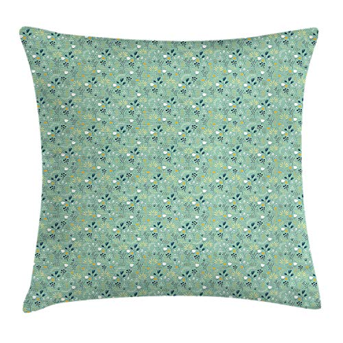 Queolszi Floral Throw Pillow Cushion Cover, Flourishing Spring and Summer Season Leaves Tulips Petals Illustration, Decorative Square Accent Pillow Case, 18 X 18 inches, Turquoise Teal Marigold