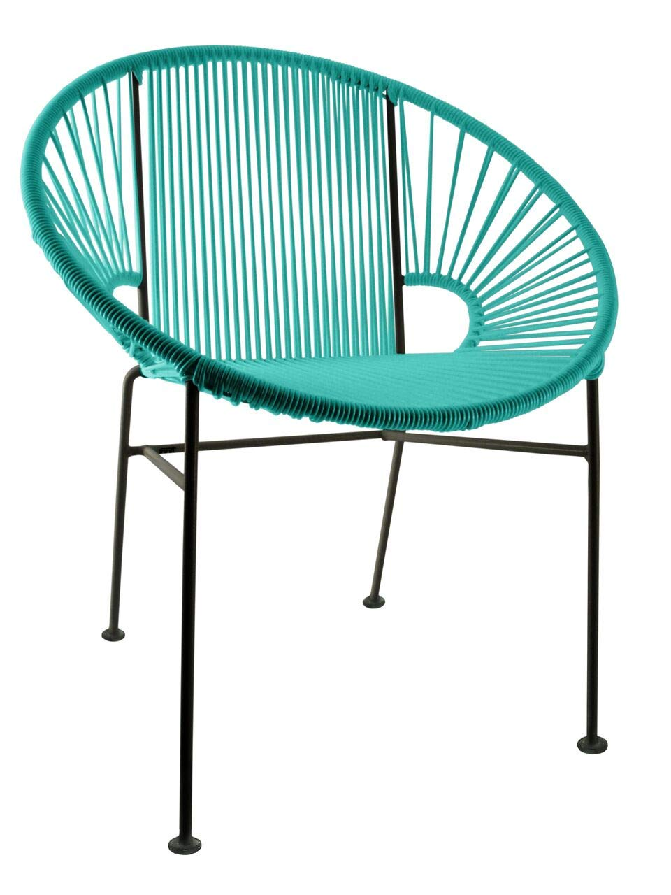 Innit Designs Concha Chair, Turquoise Weave on Black Frame