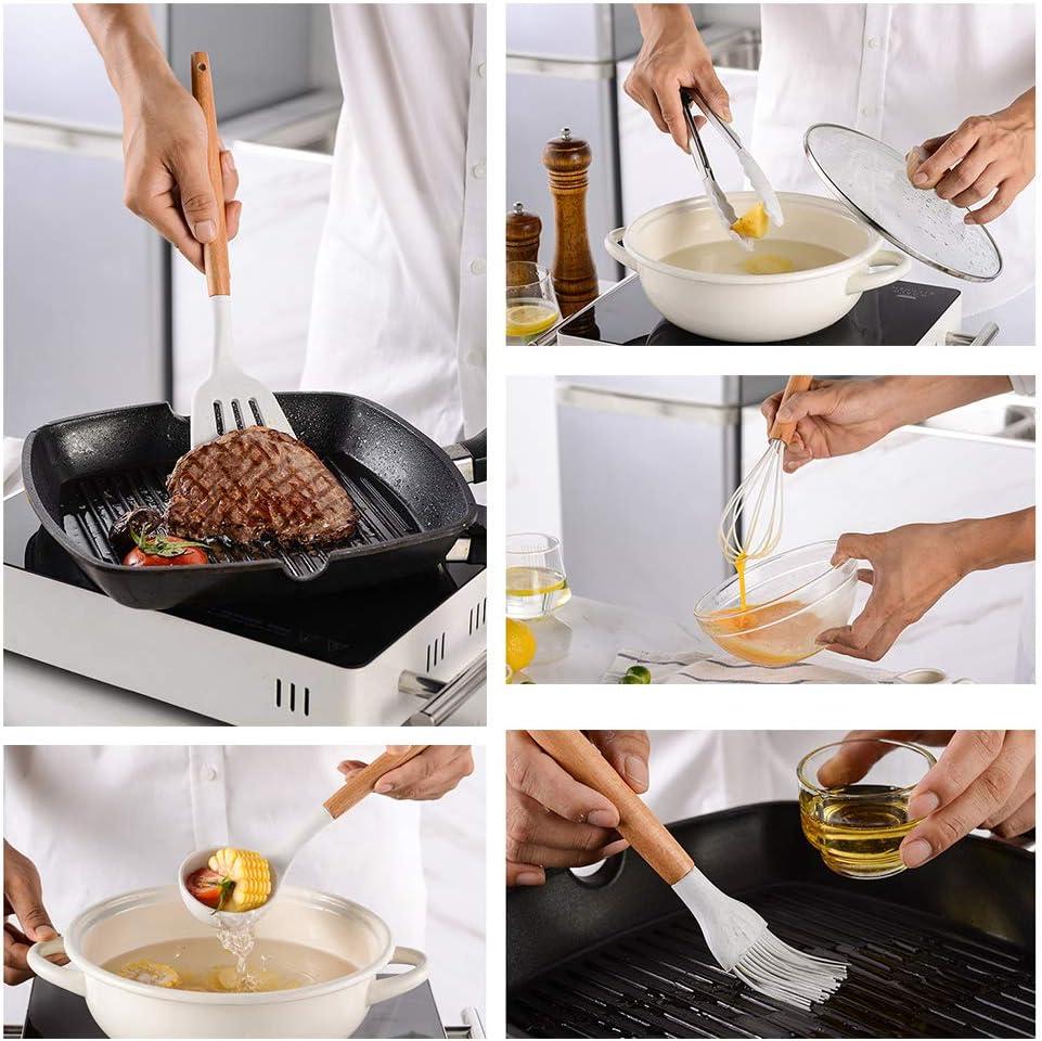 11 Piezas Utensilios Cocina de Silicona,Resistentes Al Calor Esp/átulas de Cocina Antiadherente con Mango de Madera Cuchara sin BPA lechoso