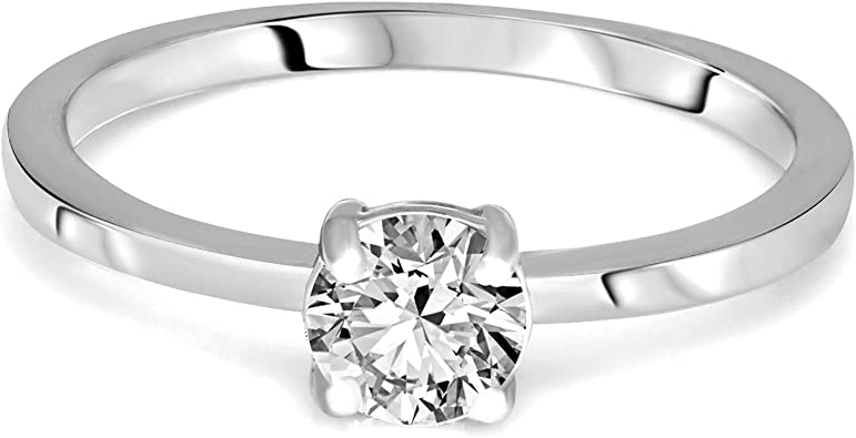 1//10 cttw, 3 Diamond Promise Ring in 14K Yellow Gold Size-8.5 G-H,I2-I3