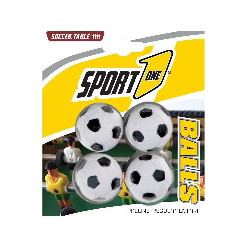 Blister 4 palline calcetto, palline biliardino, palline calcio balilla 4pz, palline per calciobalilla, palline per biliardino sport1 disegno pallone da calcio, palline ricambio per calcio balilla. Sport One