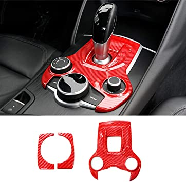 Black QHCP ABS Interior Gear Shift Box Panel Frame Decoration Cover Trim for Alfa Romeo Giulia Stelvio