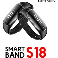 NetGen Fitness Band with Blood Pressure, Heart Rate Monitor, Step Counter and Bluetooth for iOS and Android Mobile (Black)