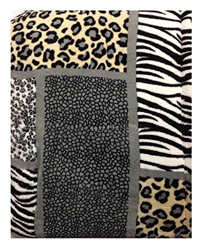 (WPM Queen Animal print Blanket Sumptuously Soft Plush Faux Fur sherpa zebra leopard jungle print Blankets-ACE24)