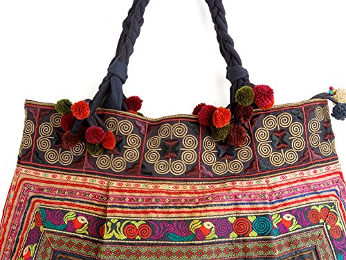 Large Changnoi Hmong Size Tribes Mocha Fabric Tote Embroidered Bird Bag Unique Hill WFHSA