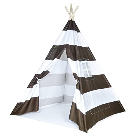 Striped Kids Teepee Tent - Portable Cotton Canvas Tent with Carrying Case Large Stripes  sc 1 st  Amazon.com : canvas kitchen tent - memphite.com