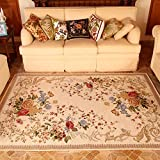 European Floral Area Rugs - MeMoreCool Beautiful Pattern Pure Color Background Anti-slipping Bottom Design Eco-friendly Material Home Carpets 63 X 91 Inch