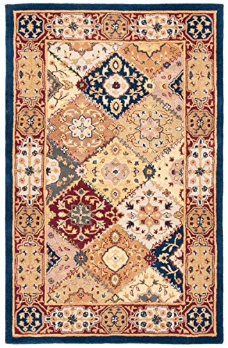 Safavieh Heritage Collection HG512B Handcrafted Traditional Oriental Multi and Red Wool Area Rug 5 x 8