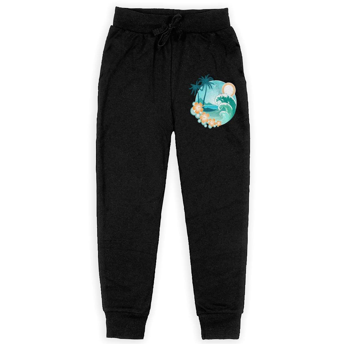 Qinf Boys Sweatpants Hawaiian Sea Beach Palm Tree Joggers Sport Training Pants Trousers Black