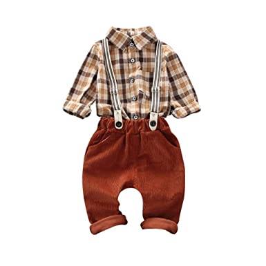 2c4ba921cf926 Gyratedream Ensemble de Vêtements pour Bébé Garçon Chemises à Carreaux Tops  Manches Longues + Salopettes Pantalons