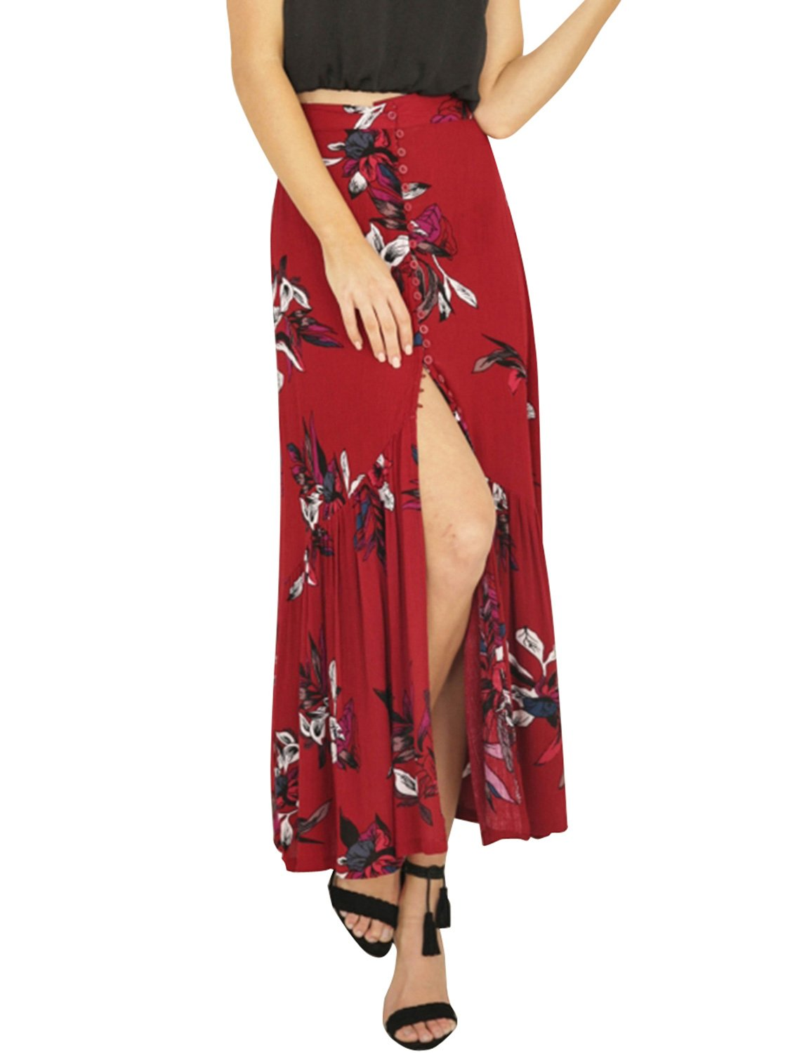 BerryGo Women's Boho Button Front Floral Print Ruffle Maxi Party Skirt Red,M