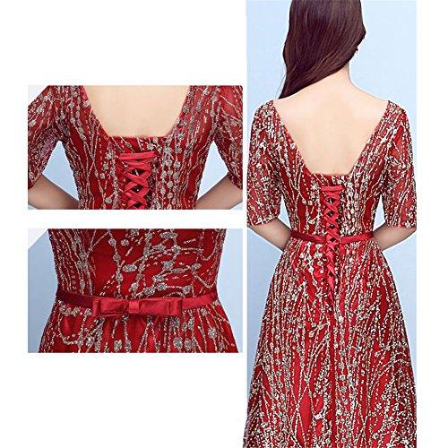 Drasawee Paillettes Womenlace Robe De Bal Du Soir Soirée Décolleté Douce Luxe Dos Nu Maxi De Robes Formelles