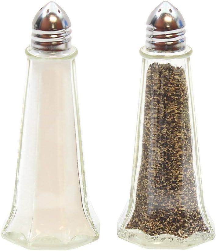 Tablecraft Eiffel Tower Glass Salt /& Pepper Shakers with Chrome Lid