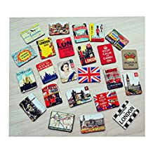 Cool Fridge Magnet London Vintage Style Super Refrigerator Magnets Set (24 pcs)
