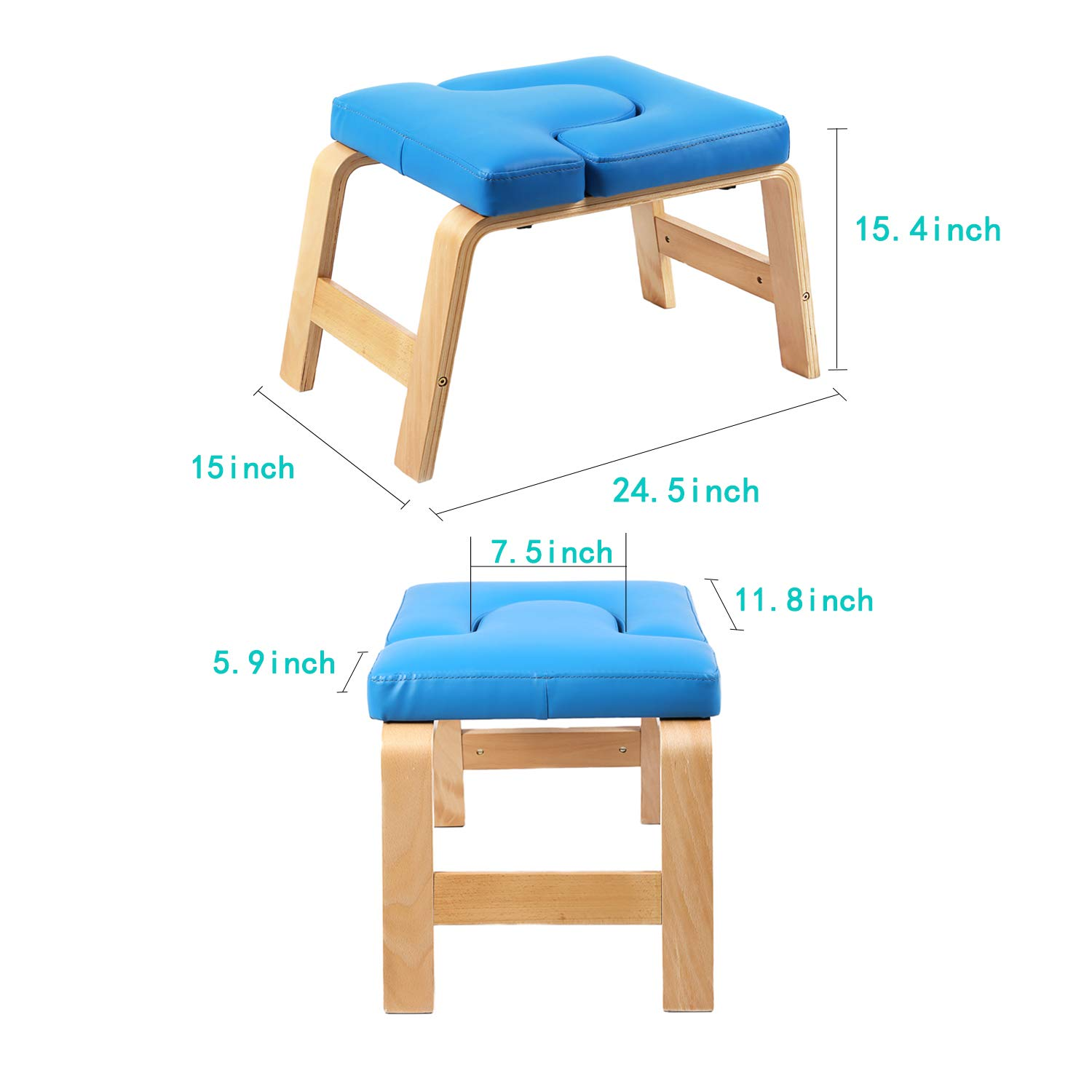 Desire Life Yoga Headstand Bench - Stand Yoga Chair for Family, Gym - Wood and PU Pads - Relieve Fatigue and Build Up Body (Blue) by Desire Life (Image #3)