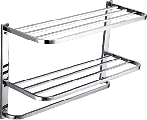 3-Tier Bathroom Shelf with Towel Bars, Stainless Steel Wall Mounting Rack,29-1/4 Inch