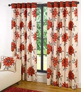 Monet ROJO 100% Algodón Floral 66 x 90 forradas con ojales Curtains # ALLEBANNA Cur