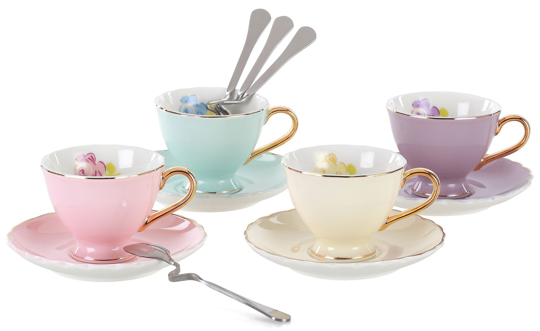 Jusalpha Fine China Coffee Bar Espresso Cups and Saucers Set, 7-Ounce TCS02-4COLOR (7 OZ Regular size)