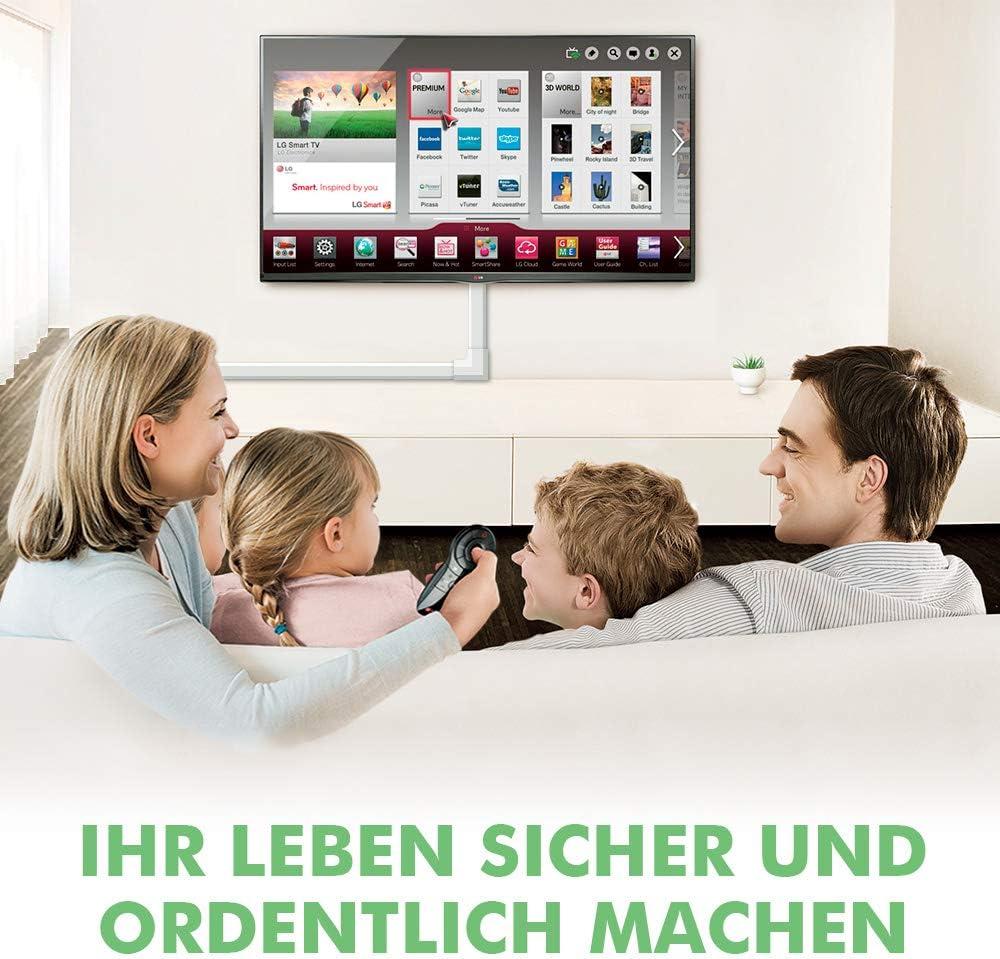 TV Kabelkanal f/ür alle Netzkabel in Haushalt//B/üro Schwarz Kabelschacht zum verstecken von Kabel 320cm PVC Kabelabdeckung 8 St/ück x L40cm*W3cm*H1,7cm Kabelkanal Selbstklebend Weiss