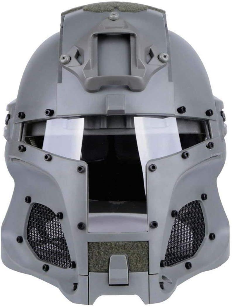 Cosplay Airsoft Full Face Head Helmet Tactical Riding Sorta-Kinda Mandalorian//Boba Fett//Galac-Tac//Star Wars Airsoft Helmet with Exchangable Lens Gray