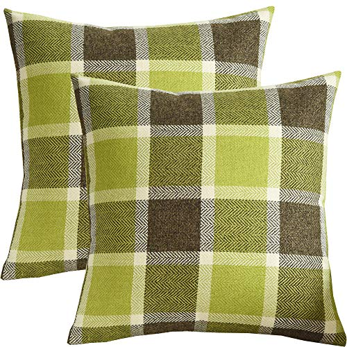 - SUNOOMY Pack of 2 Plaids Square Decorative Throw Pillow Cover Cushion Case for Sofa Couch Bed Chair,Green,18